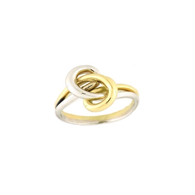 Two Tone Knot Ring, 18 Karat Gold