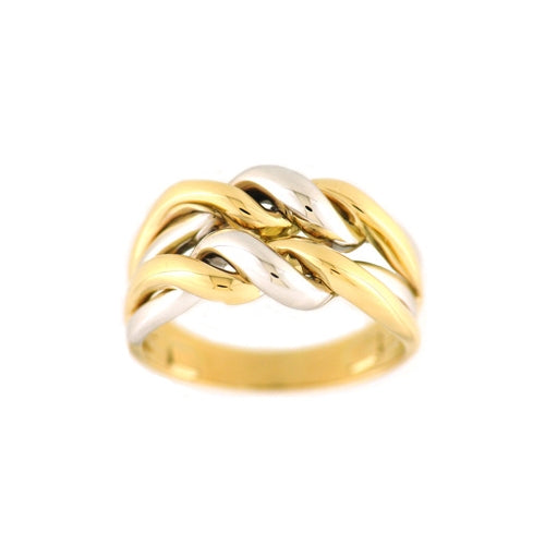 Two Tone Double Twist Ring, 18 Karat Gold