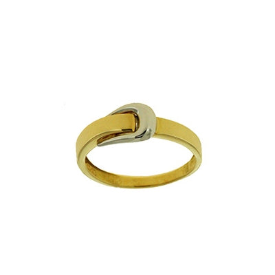 Two Tone Buckle Top Ring, 18 Karat Gold