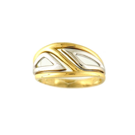 Two Tone Geometric Design Ring, 18 Karat Gold