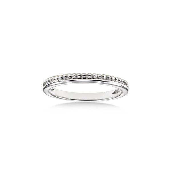 Stackable Bead Design Ring, 14K White Gold