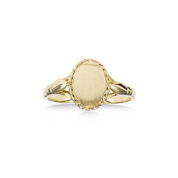 Girl's Engravable Oval Signet Ring, 14K Yellow Gold