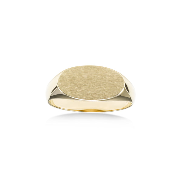 Small Engravable Signet Ring, 14K Yellow Gold