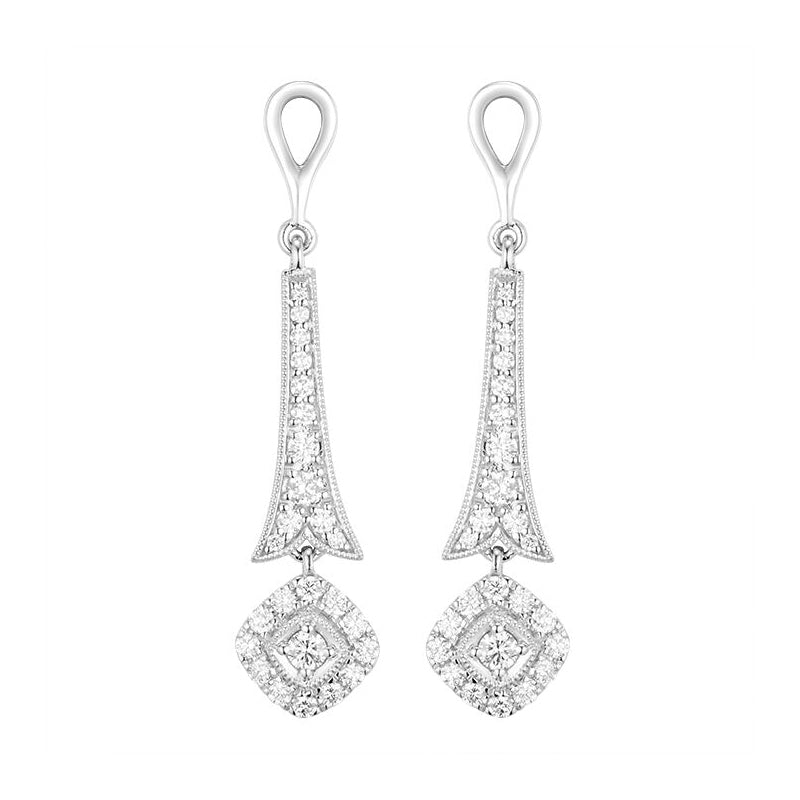 Diamond Jackets Dangle Earrings, 14K White Gold