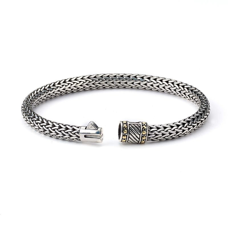 Woven Bracelet, Sterling Silver and 18K Gold, 8.5 Inches