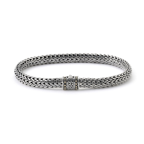 Men's Woven Bracelet, Sterling Silver and 18K Gold, 8.5 Inches