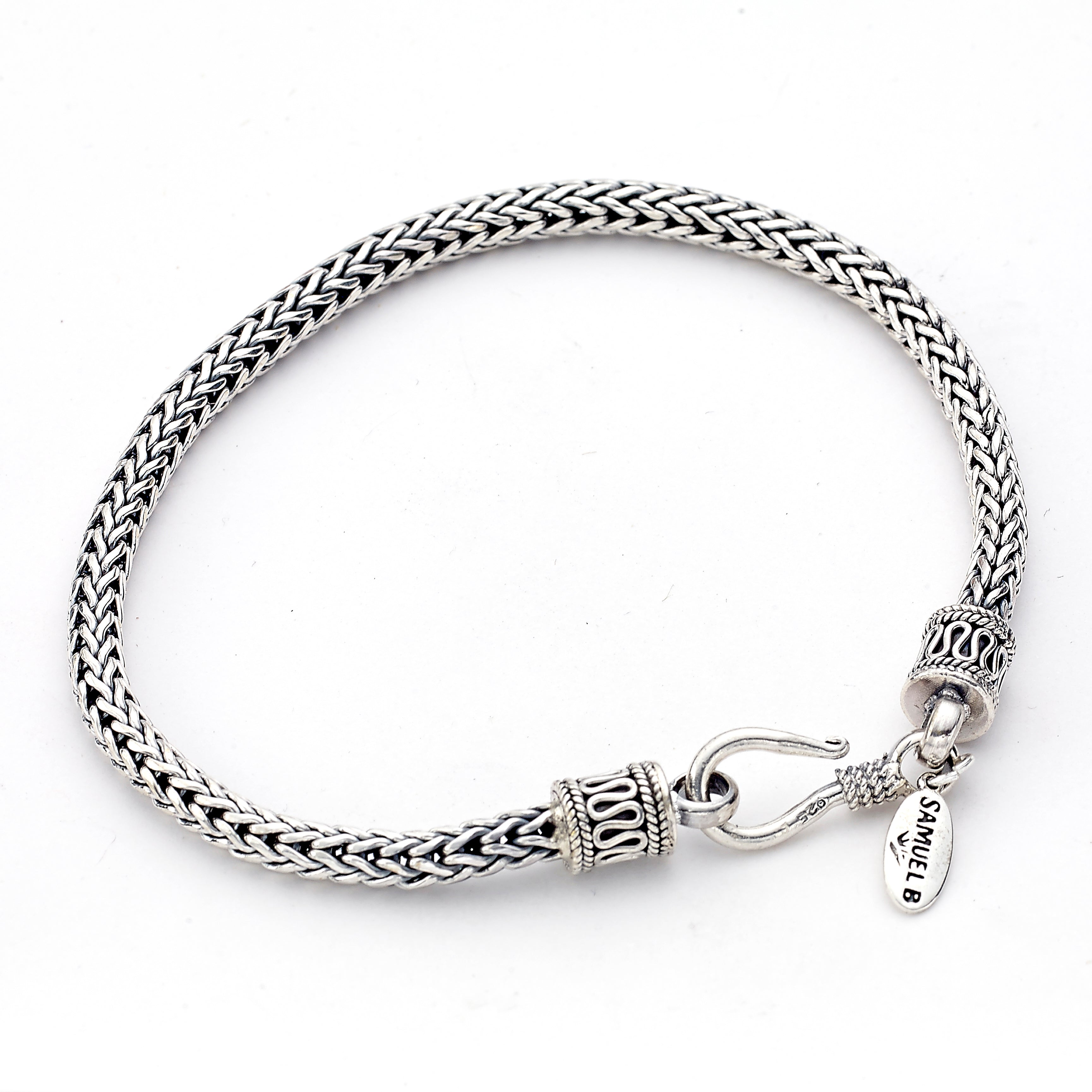 Woven Bracelet with Hook Closure, Sterling Silver, 8.5 Inches