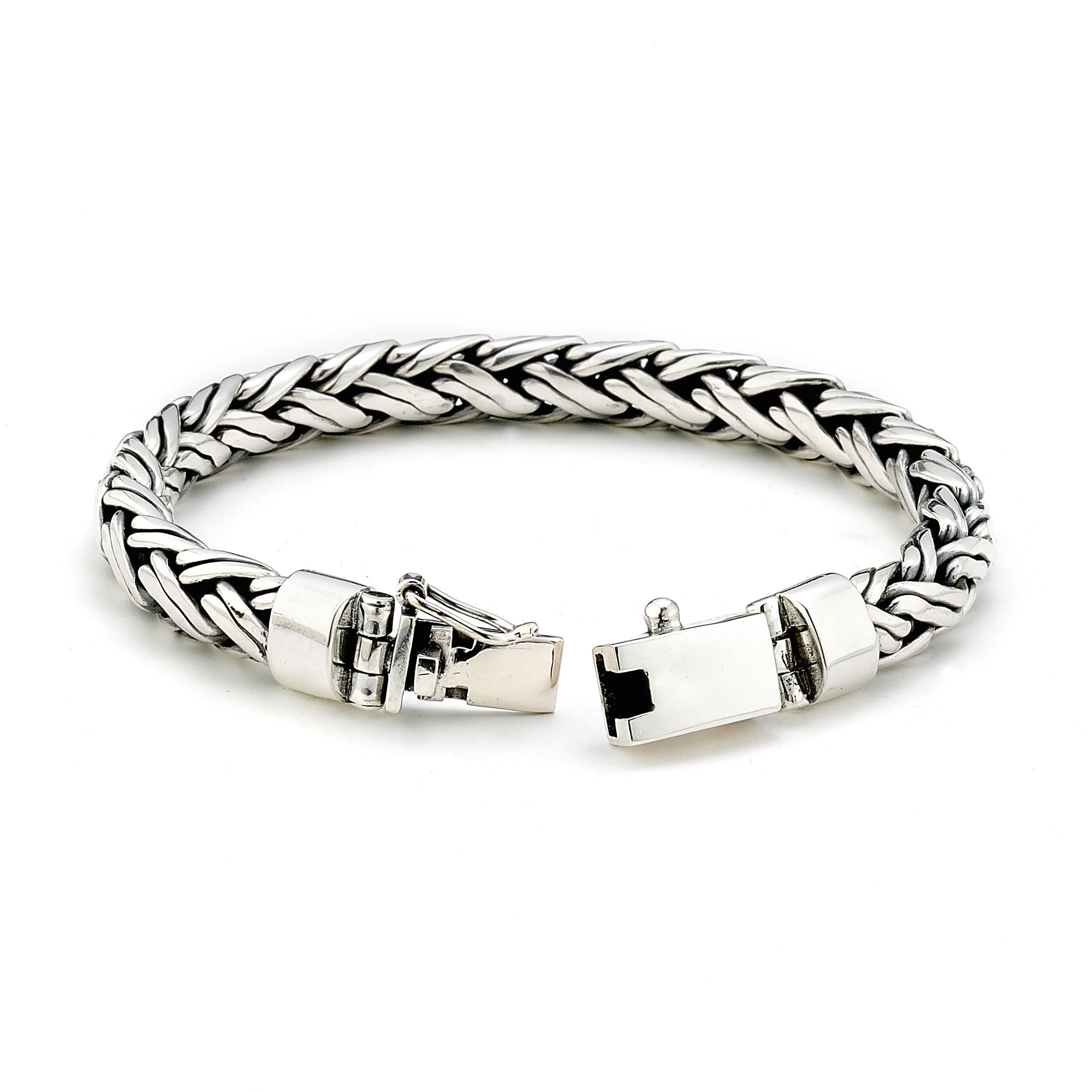 Wide Braided Bracelet, Sterling Silver, 8.5 Inches