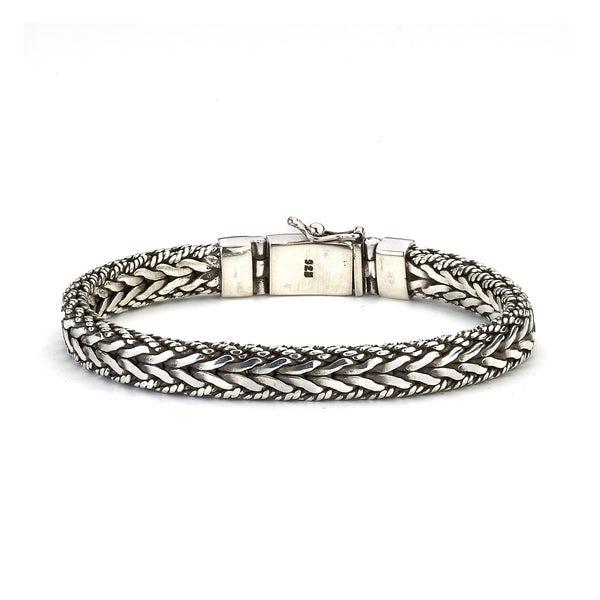 Woven Bracelet with Rope Detail, Sterling Silver, 8.5 Inches