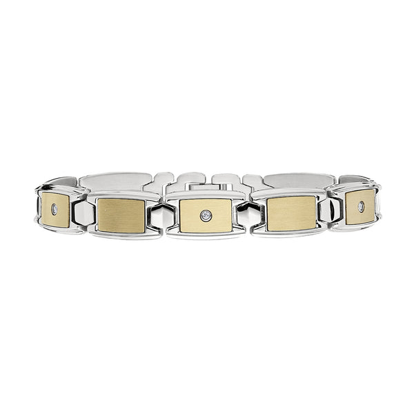 Gold Tone Link Men's Bracelet with Diamonds, Stainless Steel