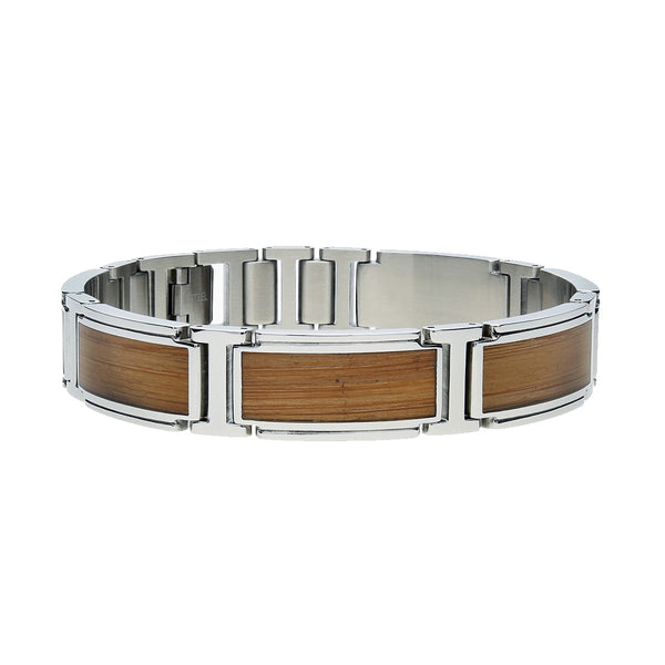 Bamboo Inlay Link Men's Bracelet, 8.50 Inches, Stainless Steel