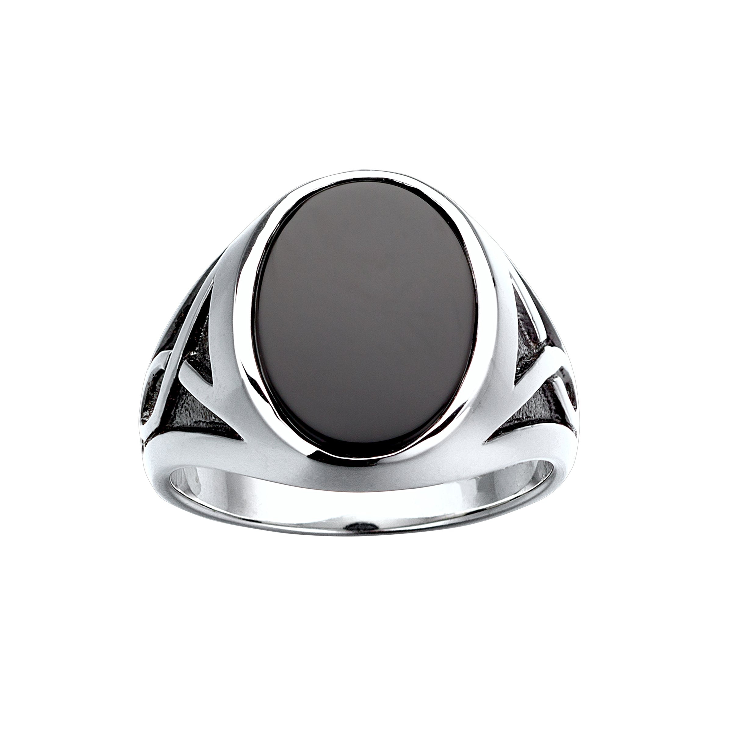 Oval Black Onyx Ring, Size 10, Sterling Silver