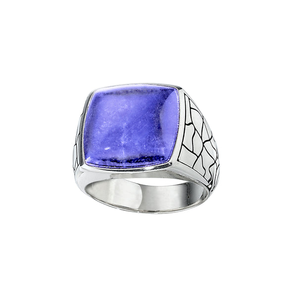 Square Sodalite Ring, Size 10, Sterling Silver