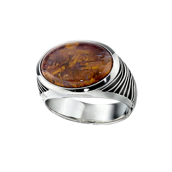 Oval Tiger's Eye Ring, Size 10, Sterling Silver