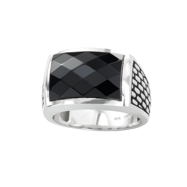 Faceted Black Onyx Ring, Size 10, Sterling Silver