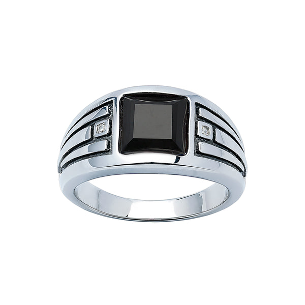 Black Onyx and Diamond Ring, Size 10, Sterling SIlver