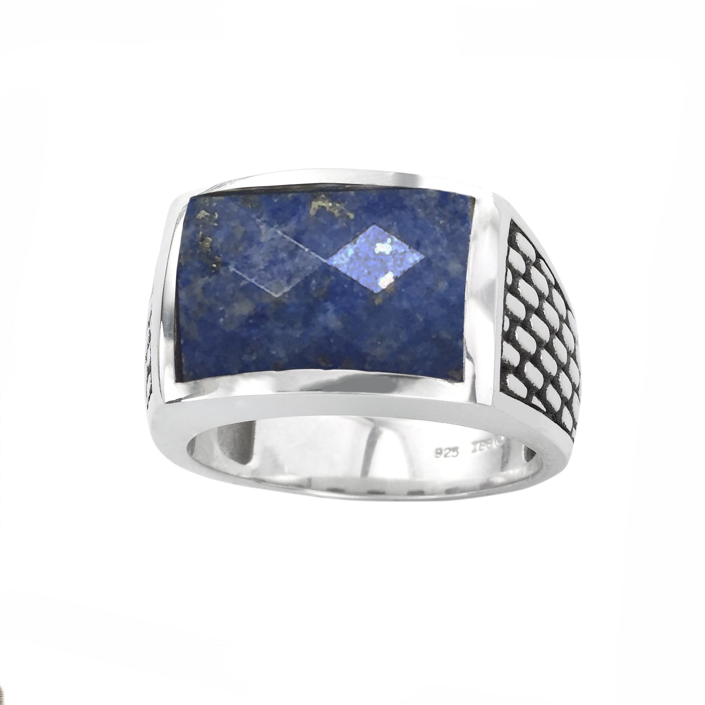 Faceted Sodalite Ring, Size 10, Sterling Silver