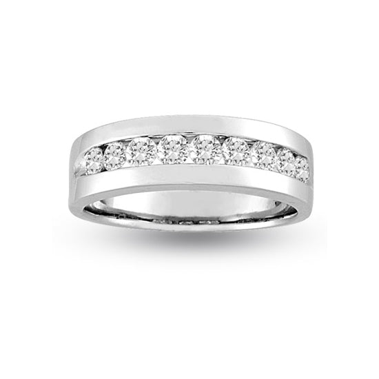 Channel Set Men's Diamond Band, 14K White Gold