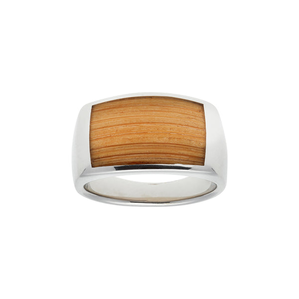Bamboo Inlay Ring, Size 10, Sterling Silver