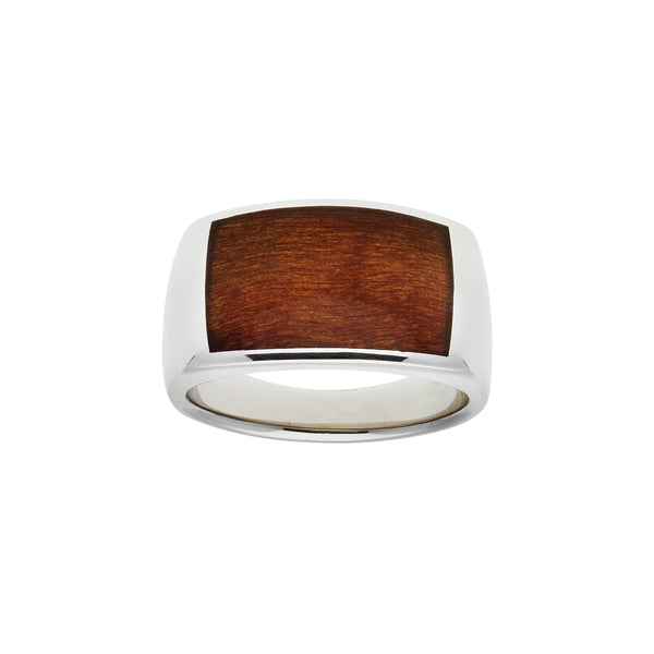 Fig Wood Inlay Ring, Size 10, Sterling Silver