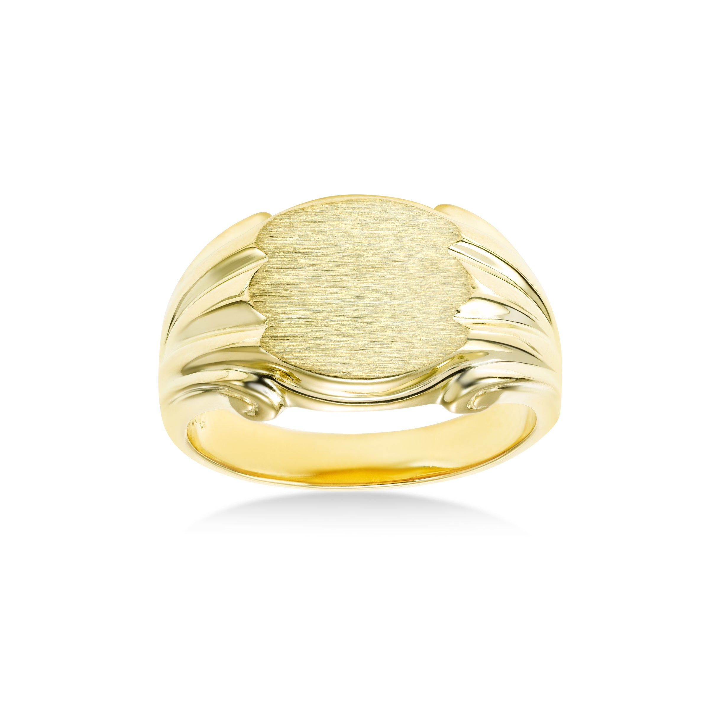 Engravable Signet Ring, 14K Yellow Gold Plated