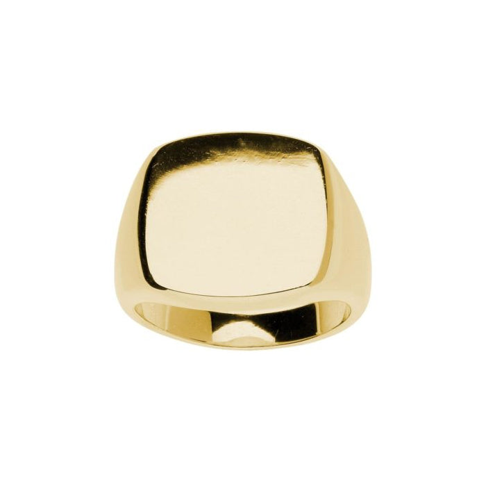 Cushion Shape Men's Signet Ring, 14K Yellow Gold