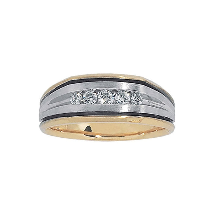 Two Tone Men's Diamond Band, 14 Karat Gold