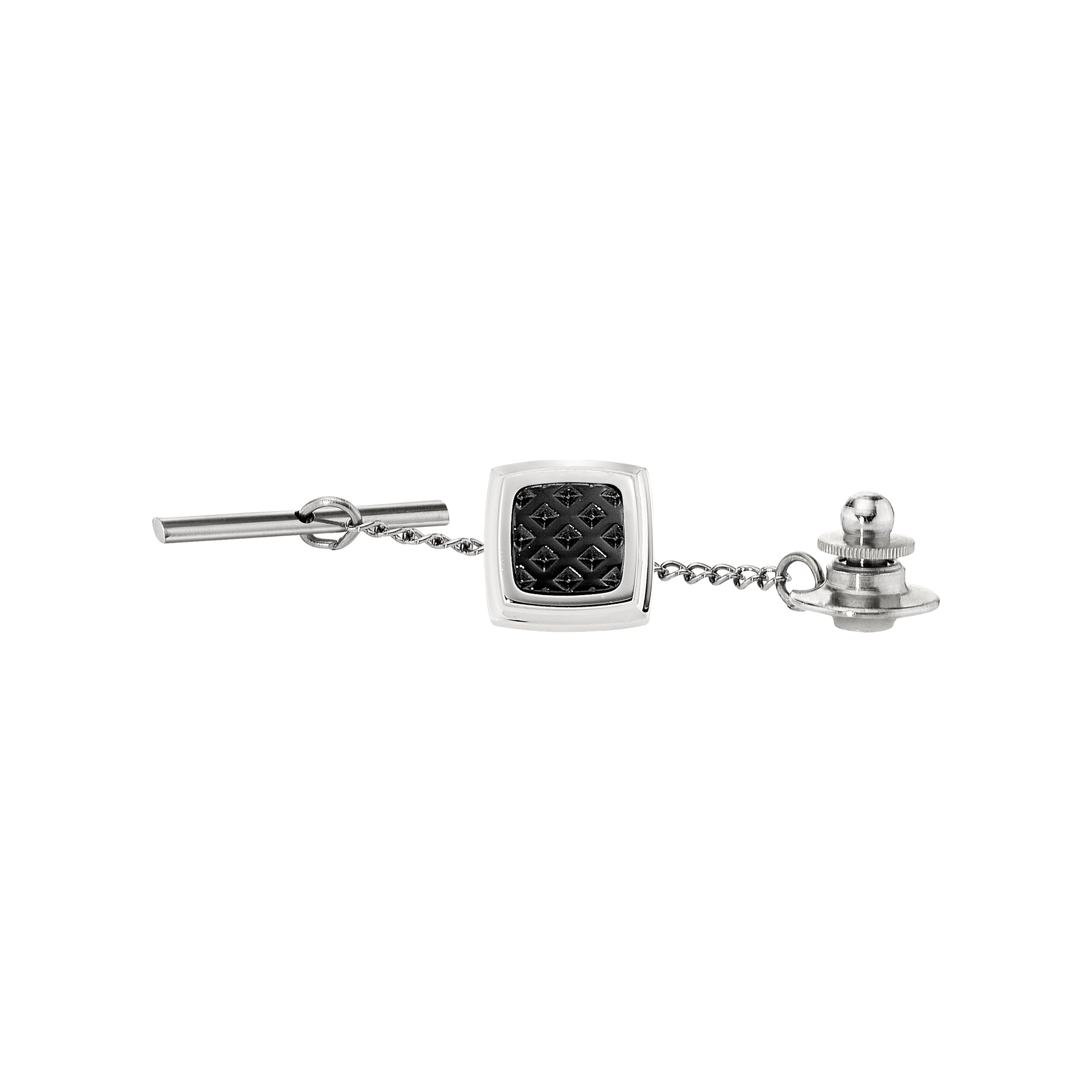 Black Textured Tie Pin, Stainless Steel