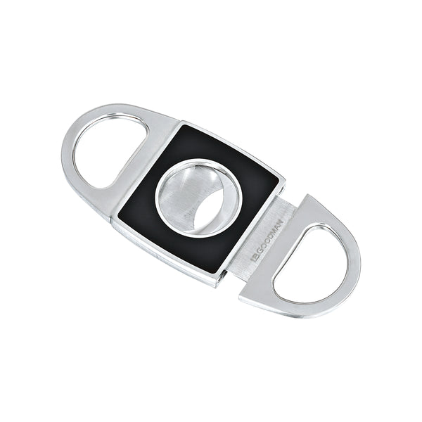 Black Enamel Cigar Cutter, Stainless Steel