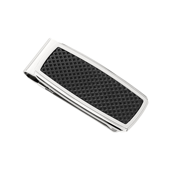 Black Textured Money Clip, Stainless Steel