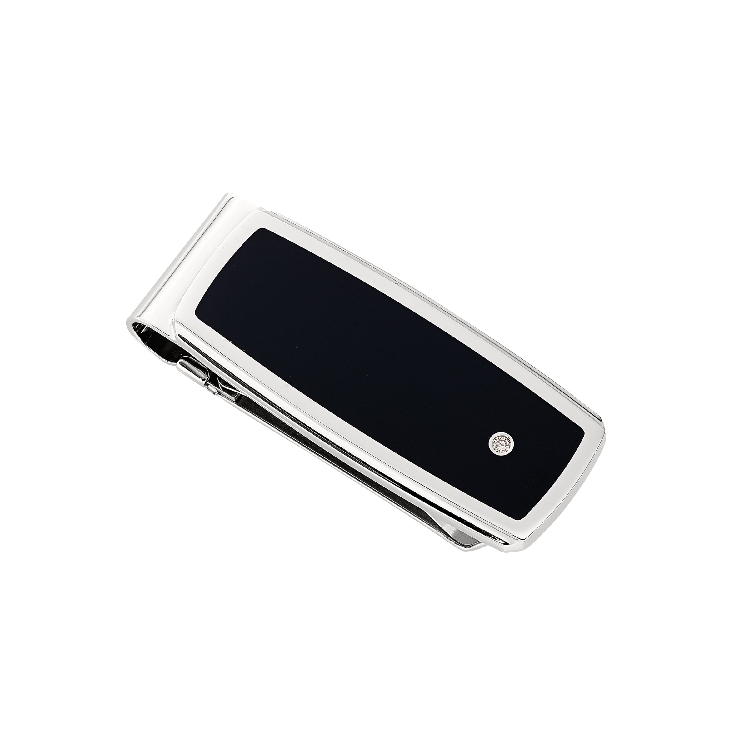 Black Enamel Money Clip with Diamond, Stainless Steel