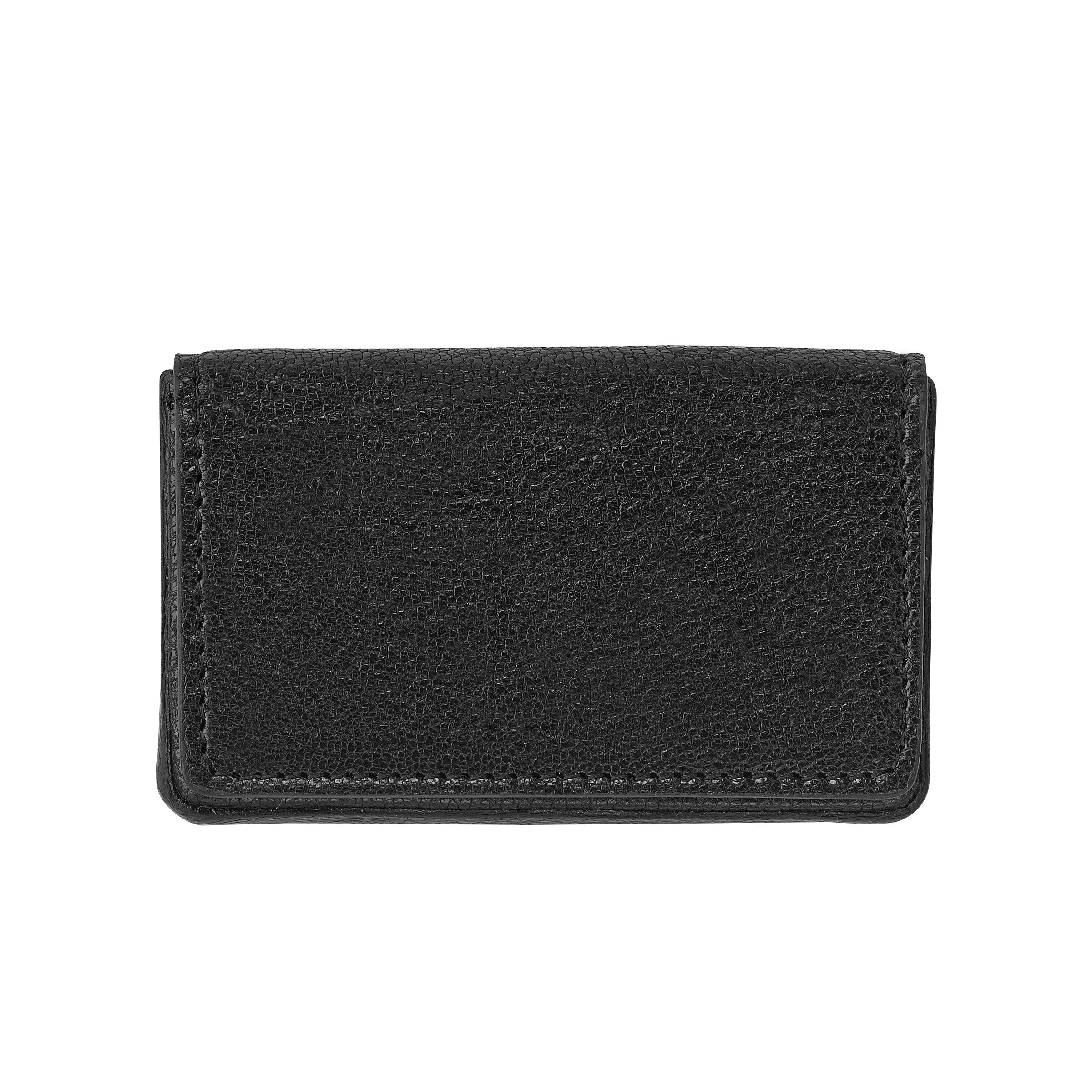 Hard Cover Business Card Case, Black Leather