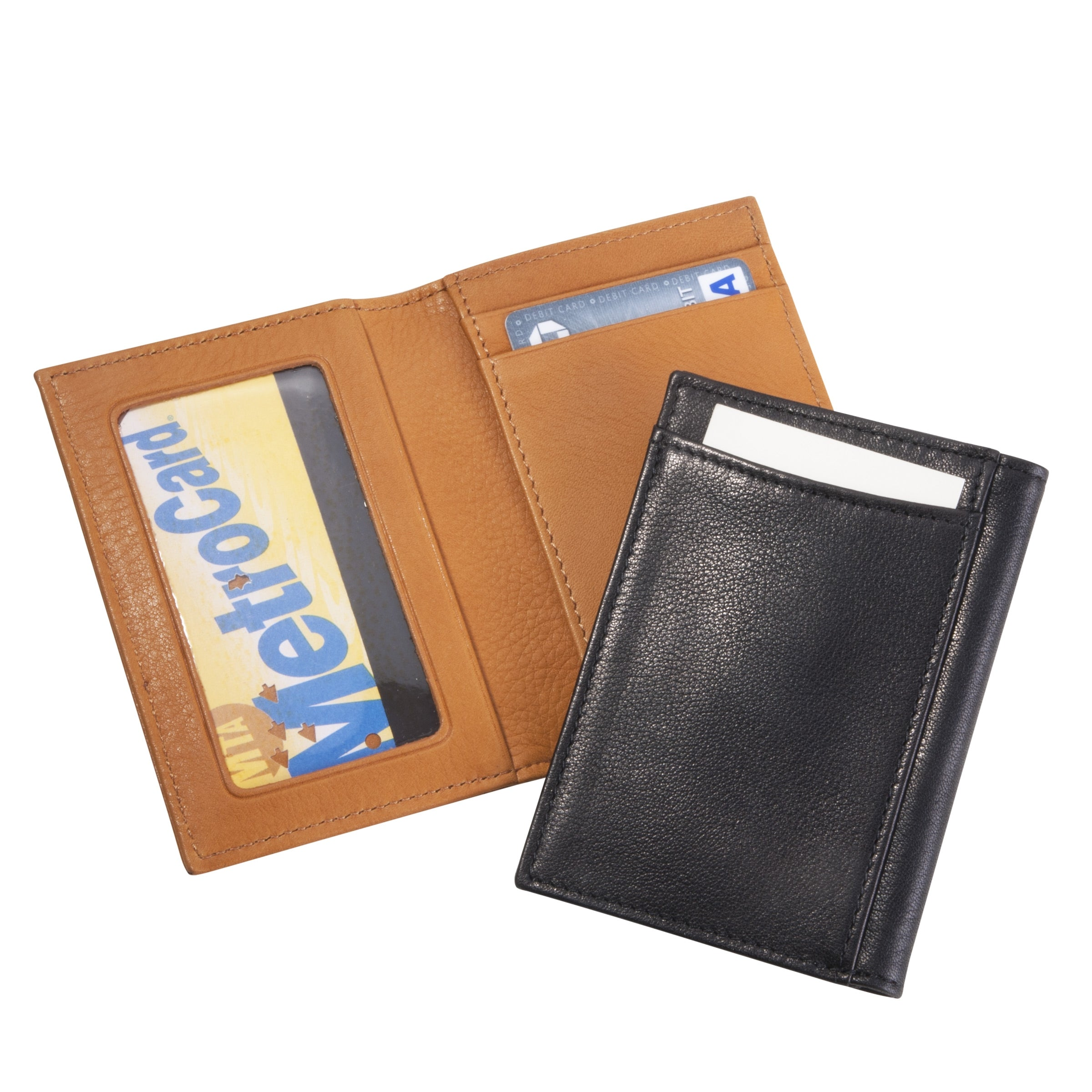 Mini Wallet with Window, Brown Calfskin Leather