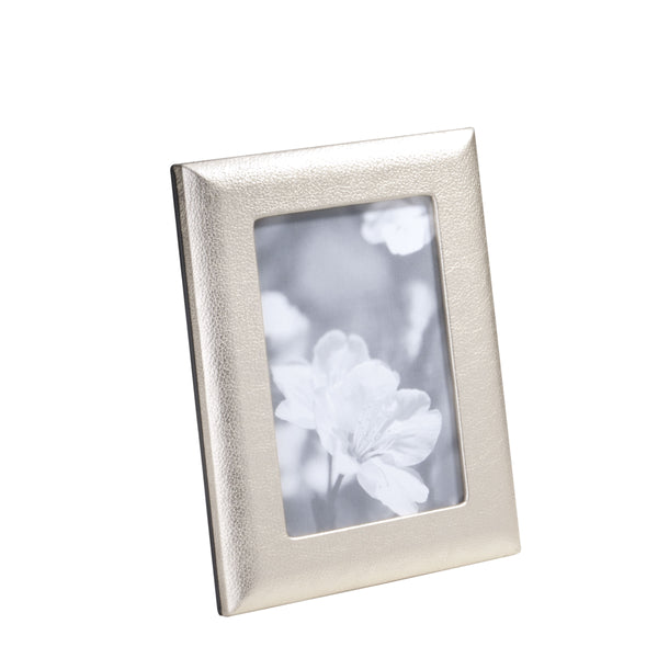 Metallic Goatskin Leather Picture Frame, 4x6 Inches