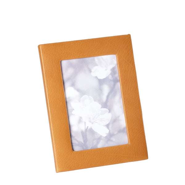 British Tan Calfskin Leather Picture Frame, 4x6 Inches