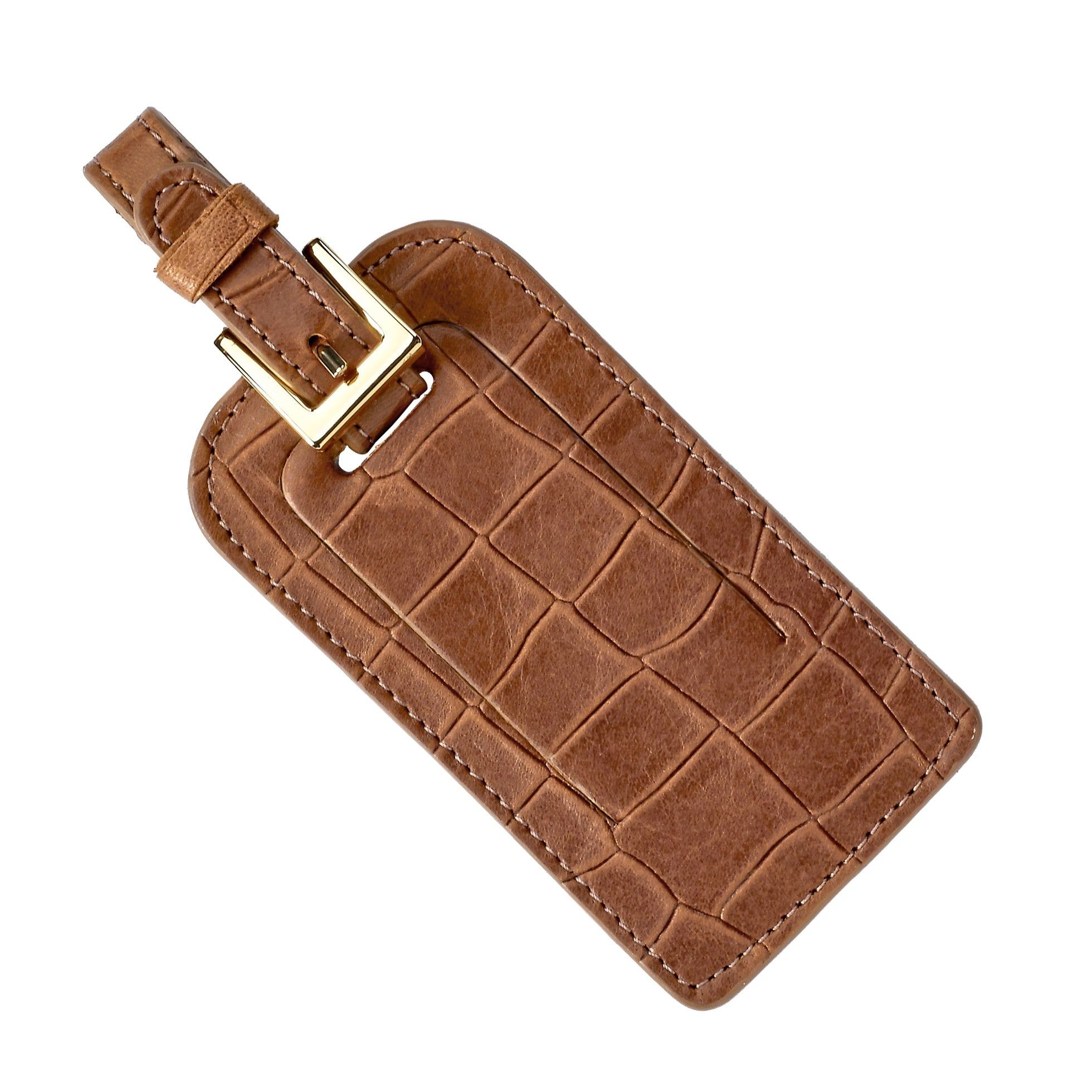 Luggage Tag, Brown Embossed Croc Leather