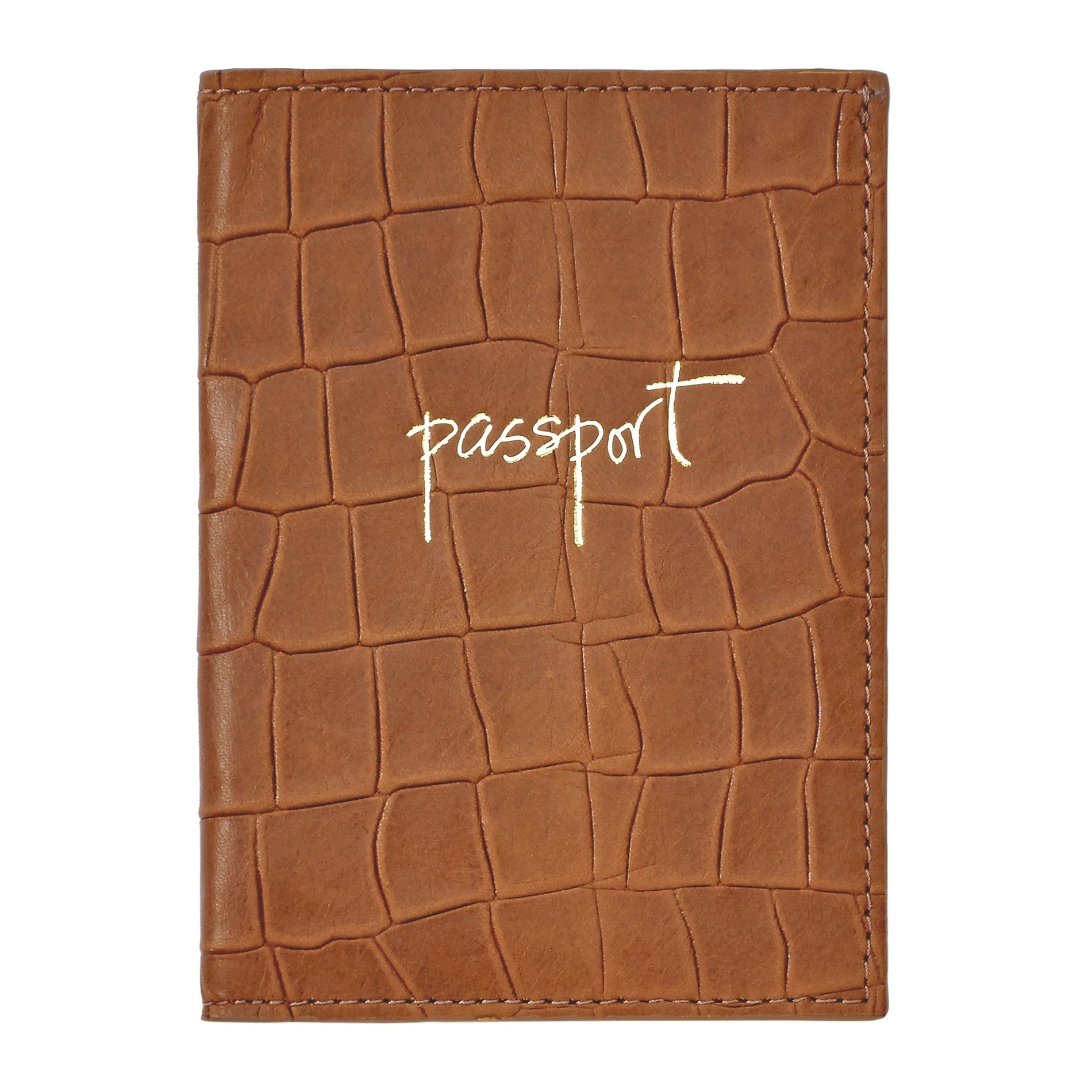 Passport Holder, Brown Embossed Nappa Croc Leather