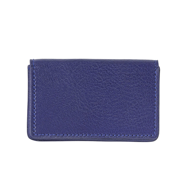 Hard Cover Business Card Case, Indigo Leather