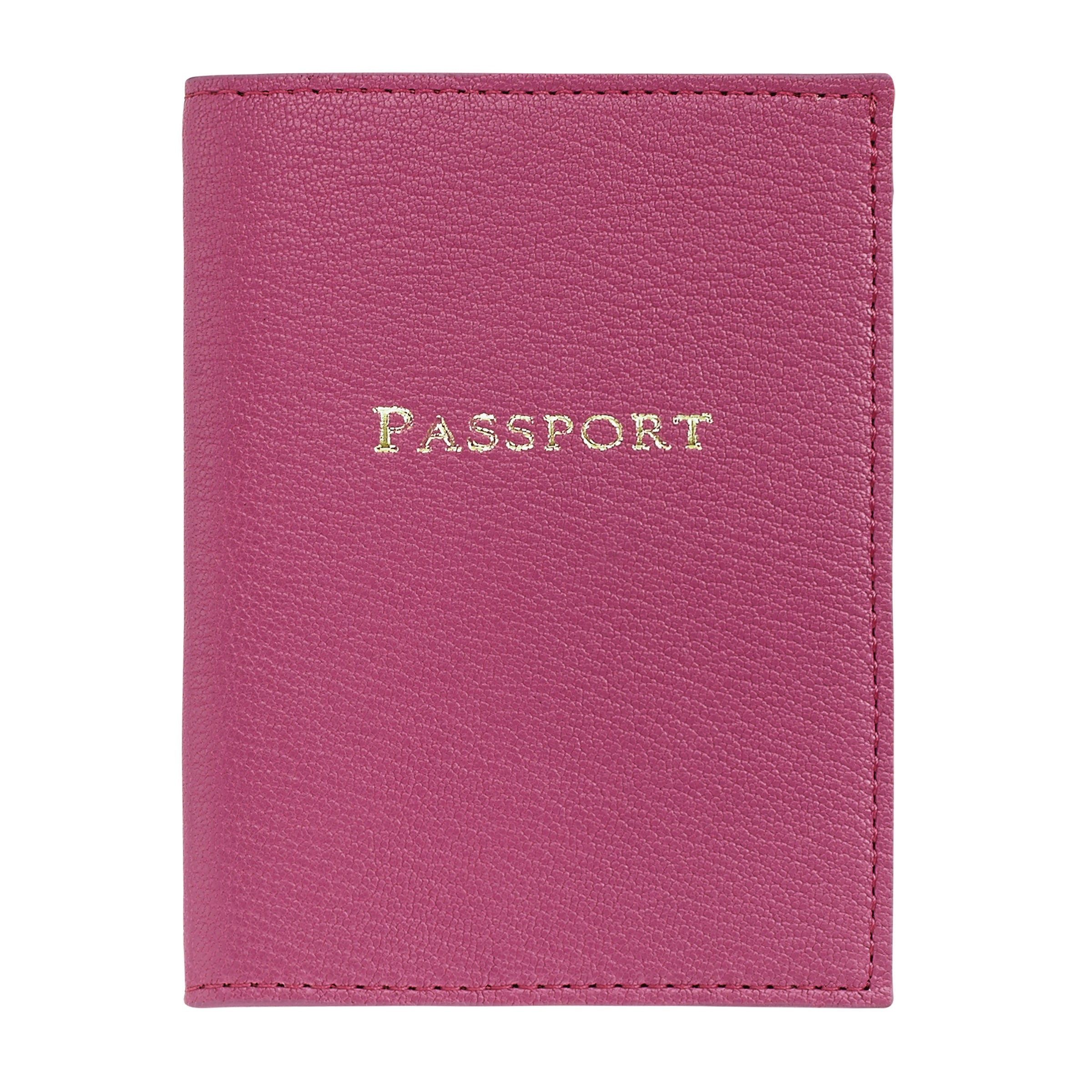 Passport Holder, Pink Leather