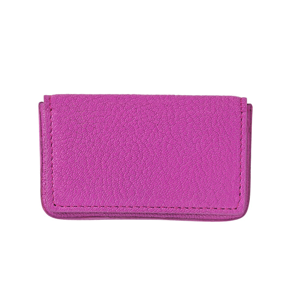 Hard Cover Business Card Case, Pink Leather