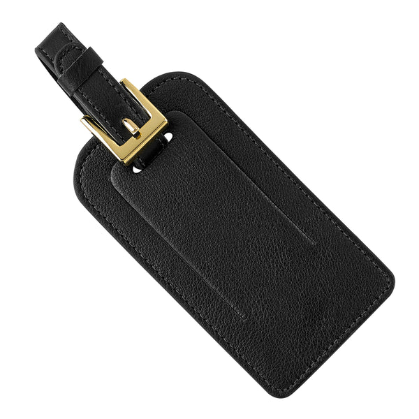 Luggage Tag, Black Leather