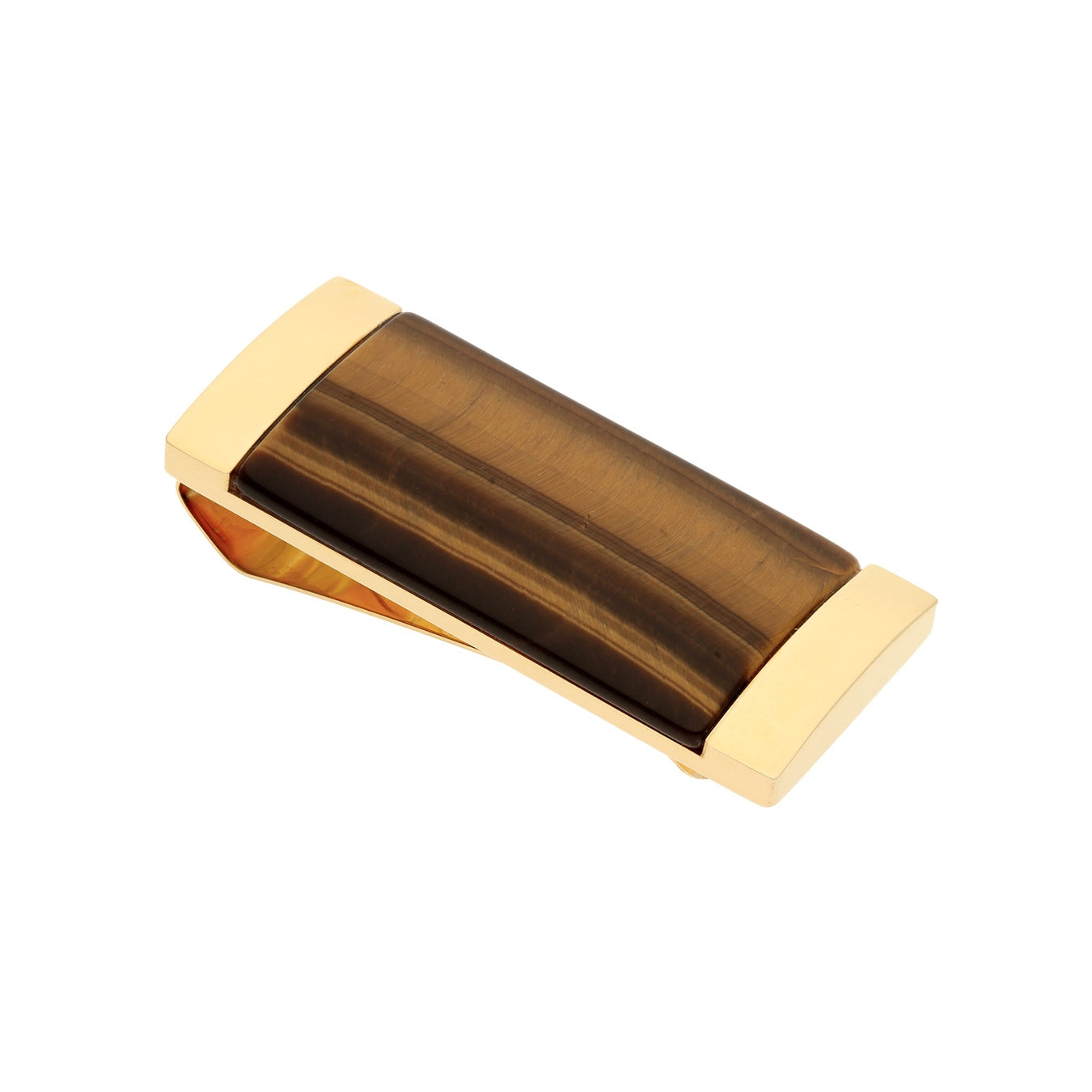 Tiger's Eye Money Clip, Gold Tone Plated Stainless Steel