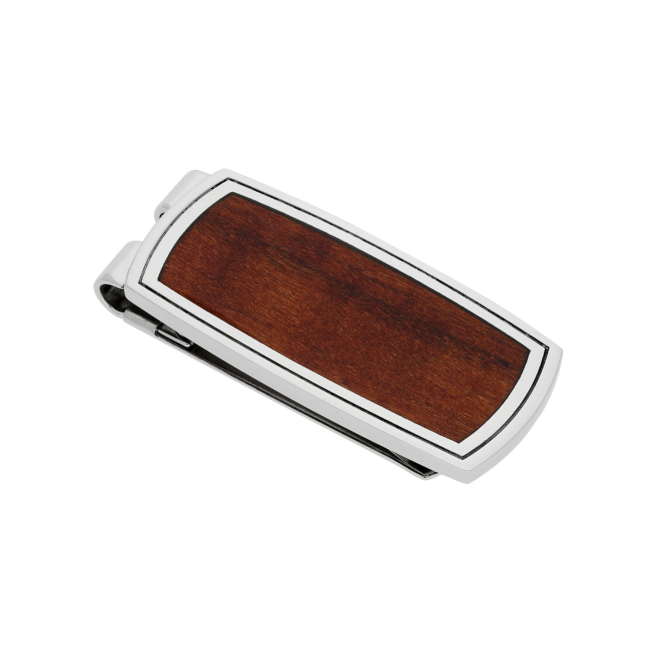 Willow Wood Inlay Money Clip, Stainless Steel