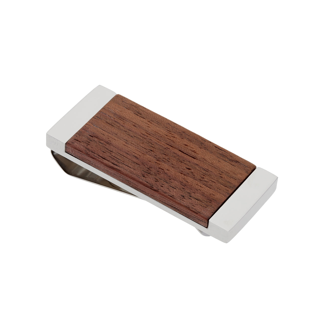 Walnut Wood Money Clip, Stainless Steel