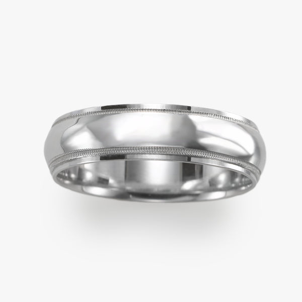 Wedding Band, Domed Center, Milgrain Edges, 6 MM, Sterling