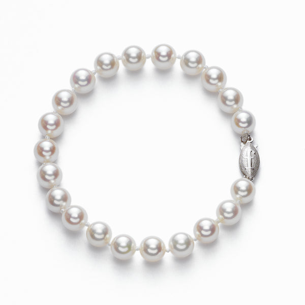 Japanese Akoya Saltwater Cultured Pearl Bracelet, 6.5 x 6 MM, 14K