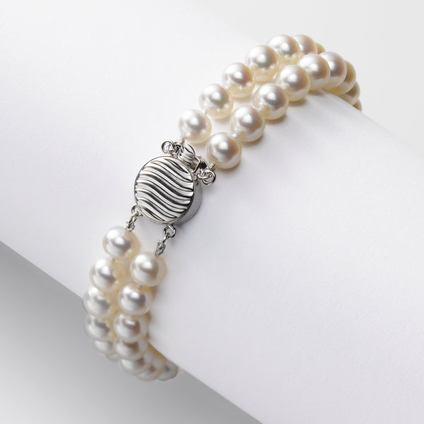 2 Strand Freshwater Cultured Pearl Bracelet, 6MM, 14K