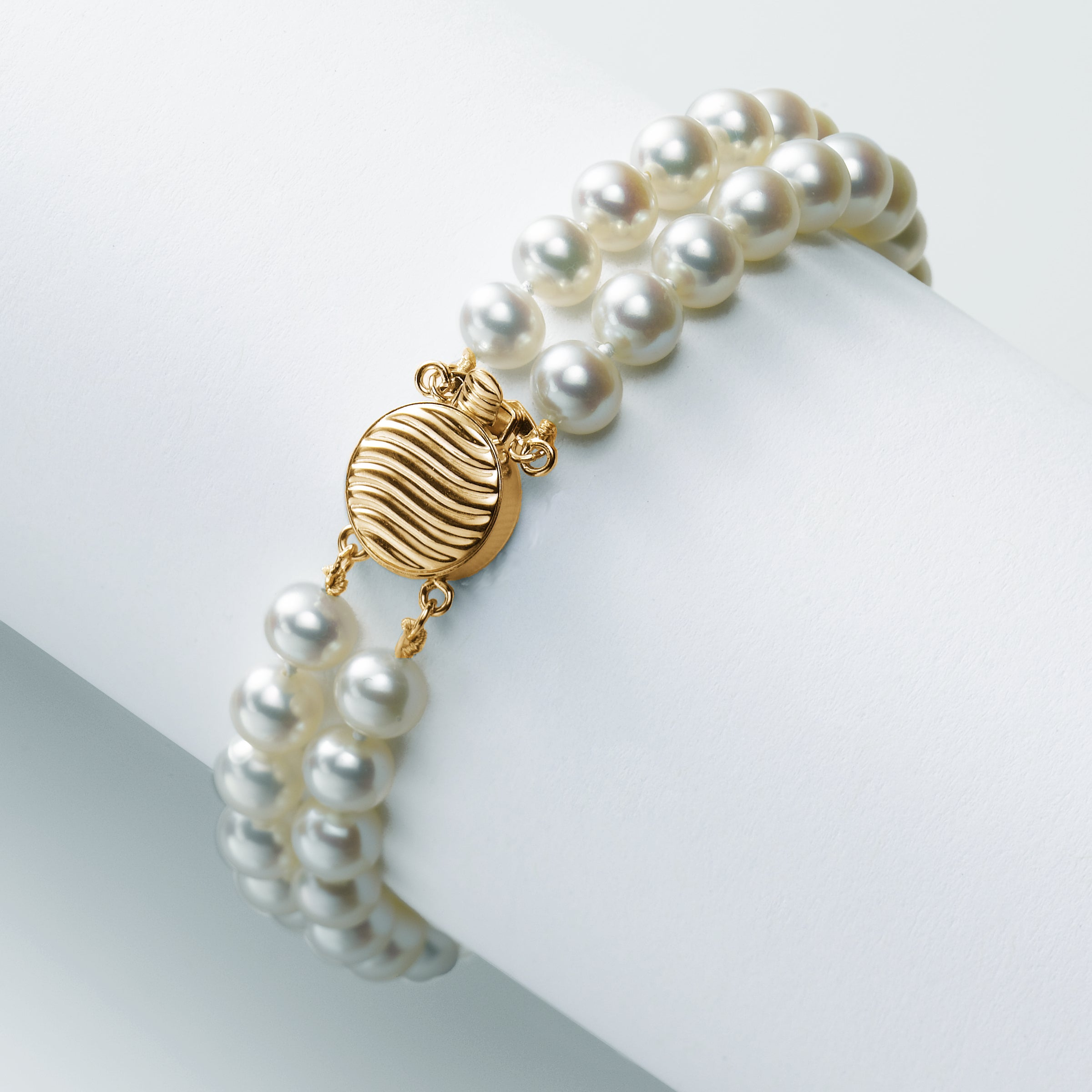 2 Strand 6MM Freshwater Cultured Pearl Bracelet, 14K Yellow Gold