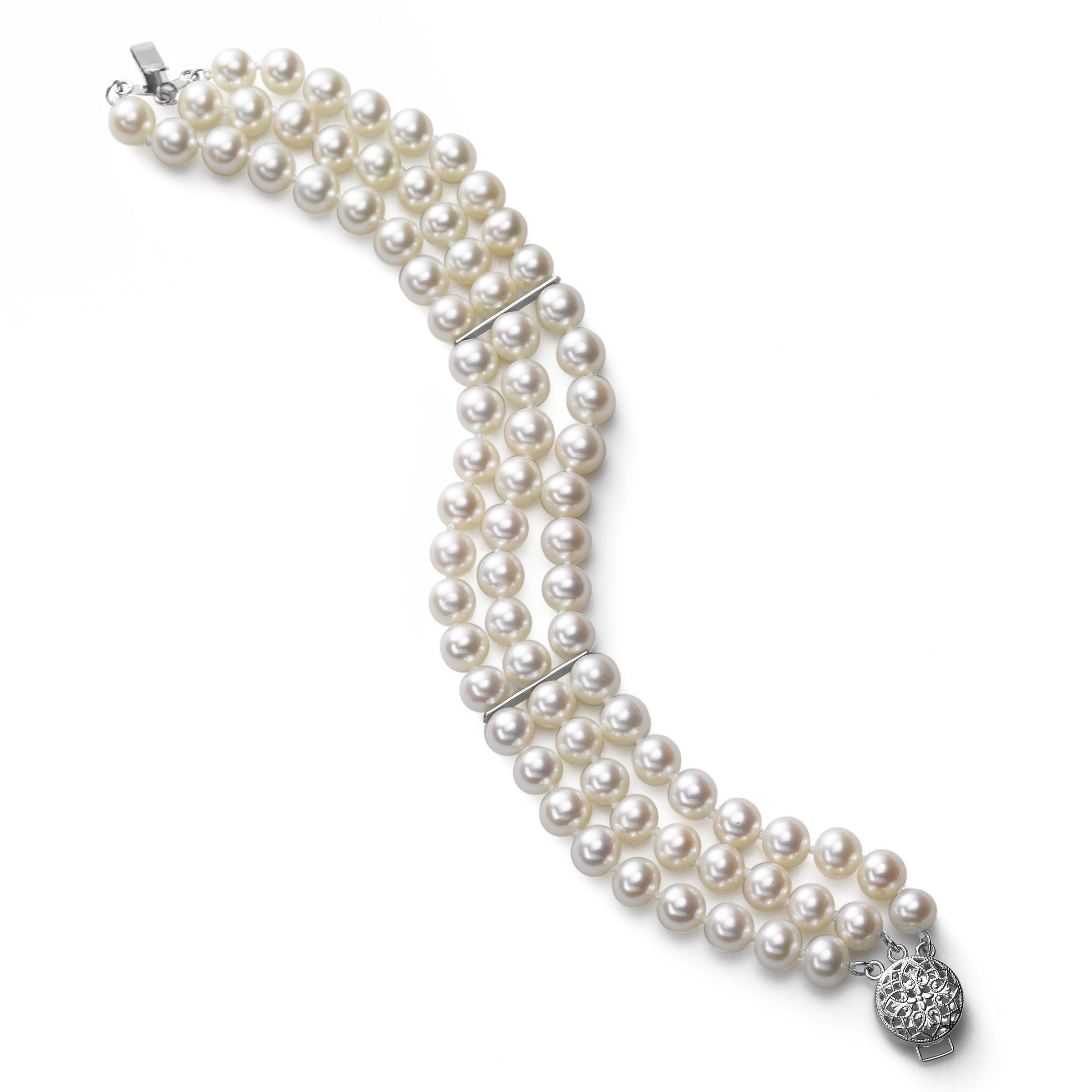 3 Row Freshwater Cultured Pearl Bracelet, 14K White Gold