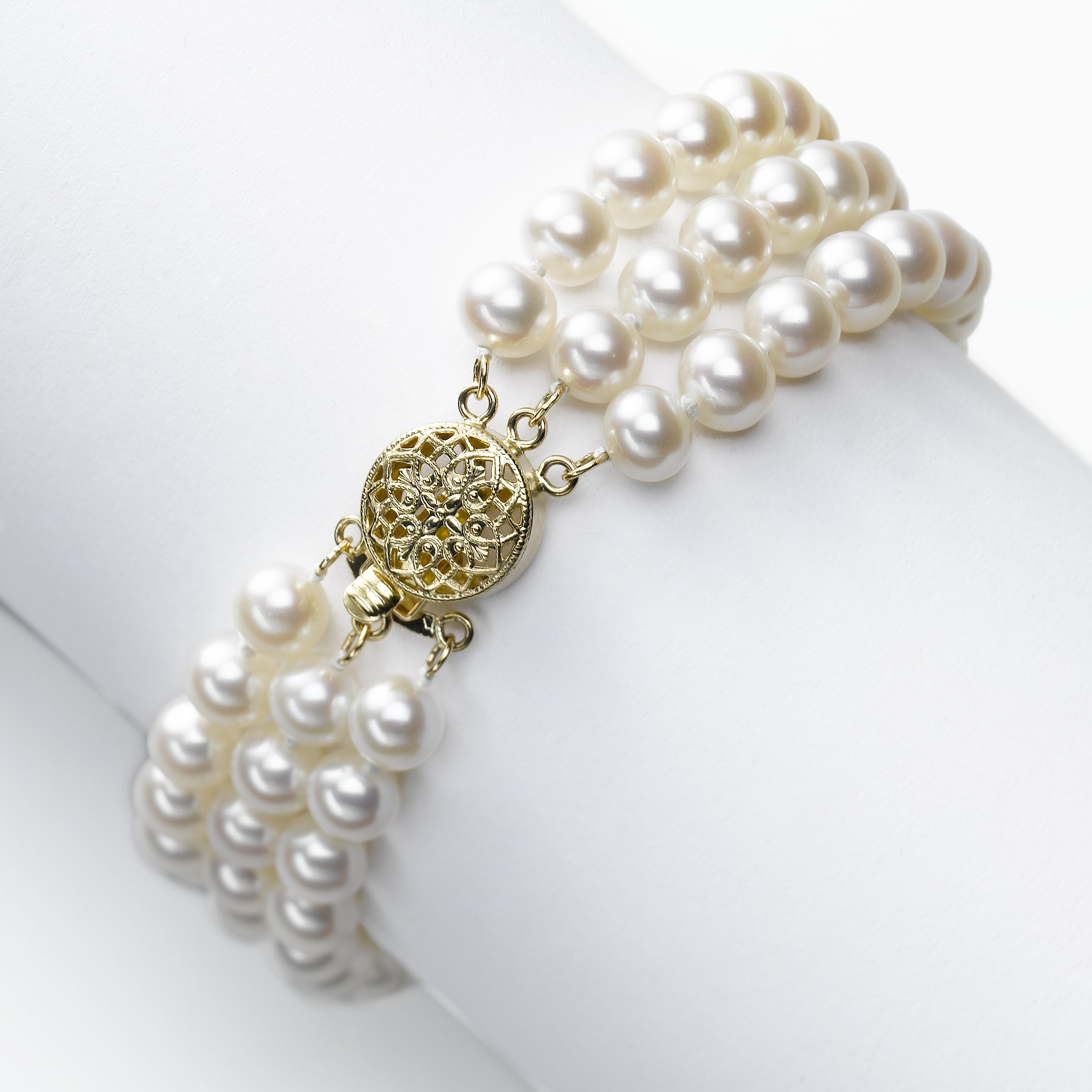 3 Row Freshwater Cultured Pearl Bracelet, 14K Yellow Gold